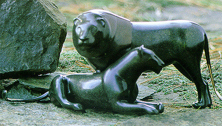 Lion Pair bronze by Loet Vanderveen