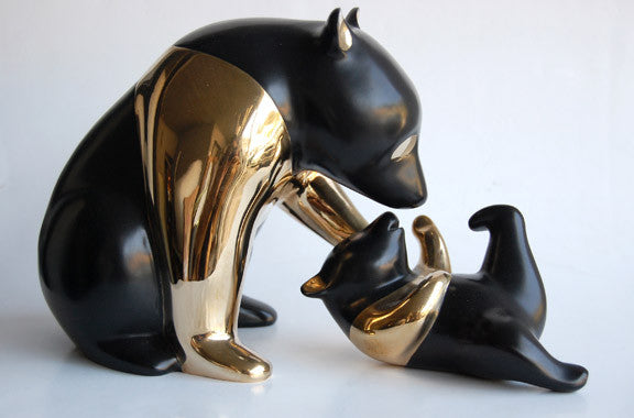 Panda and Baby bronze by Loet Vanderveen