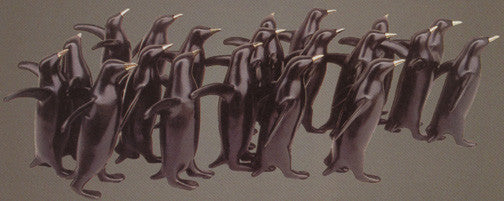 Penguin Group Large bronze by Loet Vanderveen