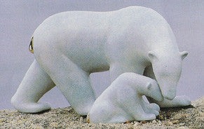Polar Bear and Baby Standing bronze by Loet Vanderveen