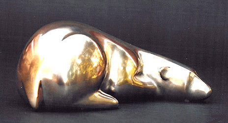 Polar Bear Reclining bronze by Loet Vanderveen