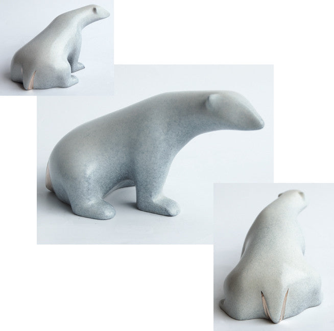 Polar Bear, Small bronze by Loet Vanderveen