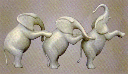 Elephants Small Standing bronze by Loet Vanderveen