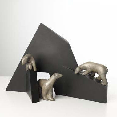 Polar Bears and Structure bronze by Loet Vanderveen