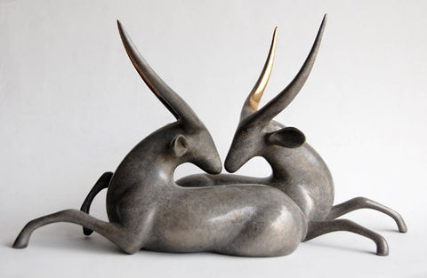 Waterbucks bronze by Loet Vanderveen