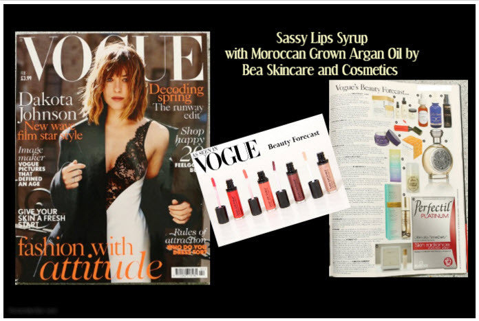 As seen in Vogue's 2016 Beauty Forecast.  SASSY LIPS SYRUP with Moroccan Grown Argan Oil, Aloe, Castor Seed, Soybean Oil and Vitamins C and E