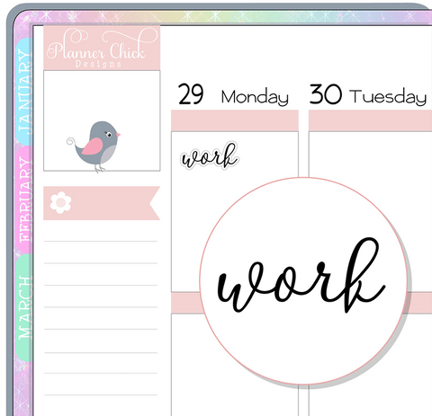 Work Script Planner Stickers