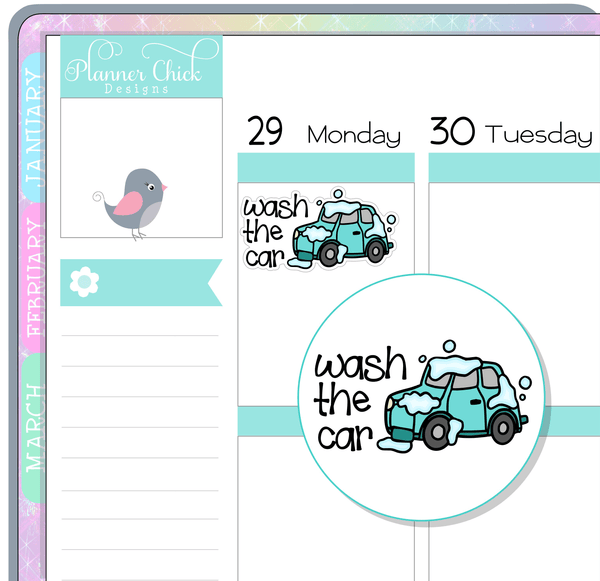 Wash the Car Planner Stickers