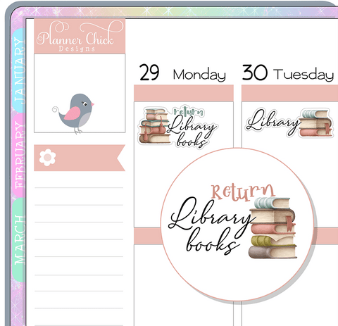 Vintage Library Planner Stickers