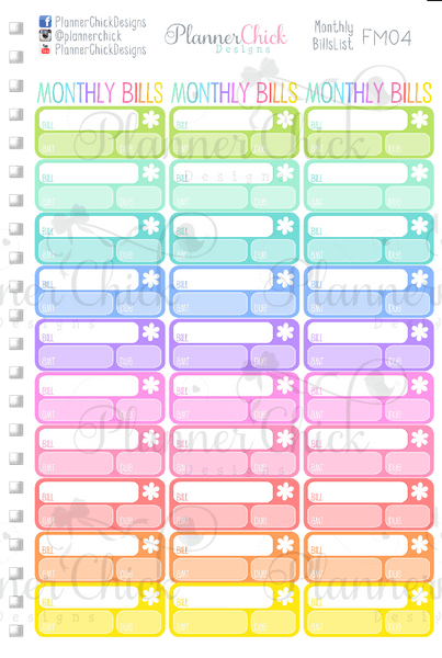 monthly bills list  u2013 plannerchickdesigns