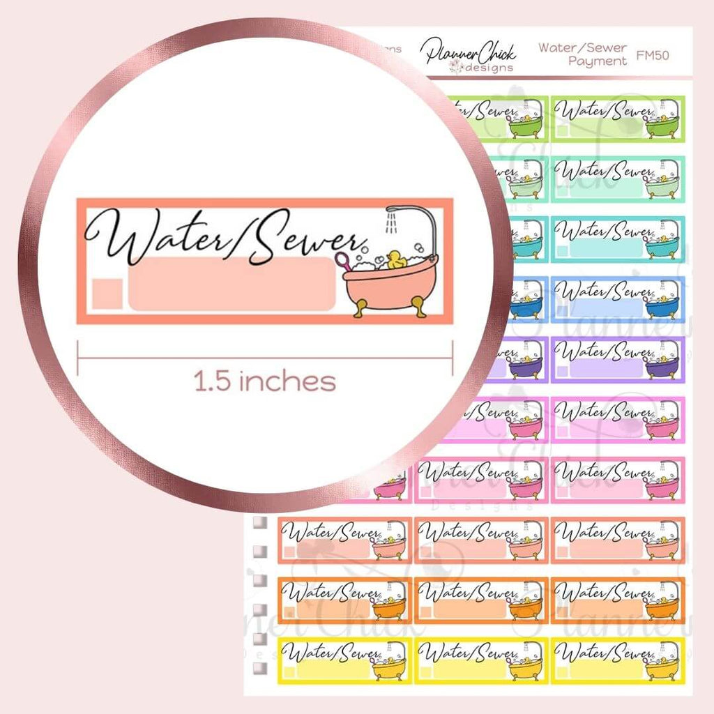 Water/Sewer Payment Planner Stickers