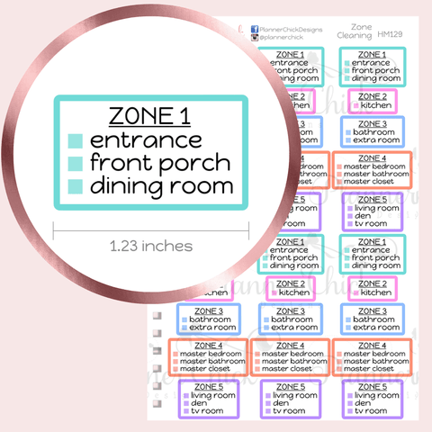 Zone Cleaning Planner Stickers