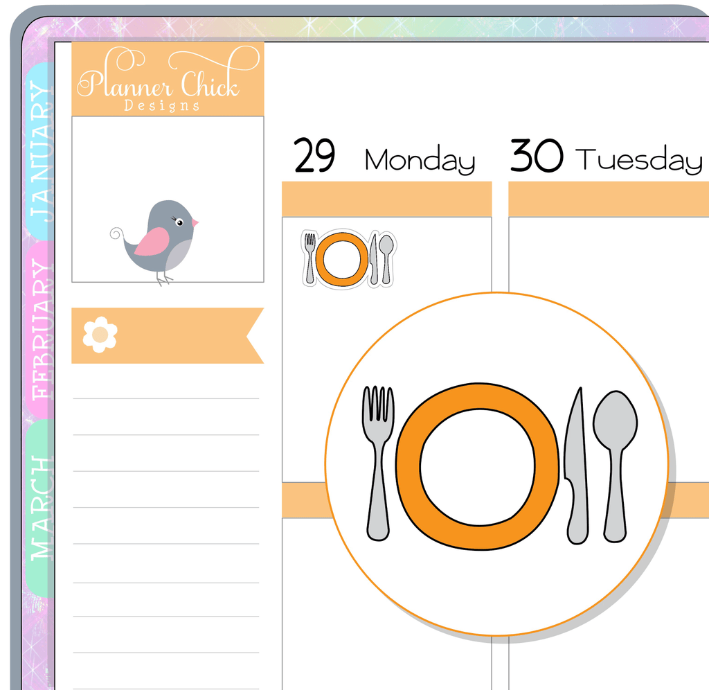 Place Setting Planner Stickers
