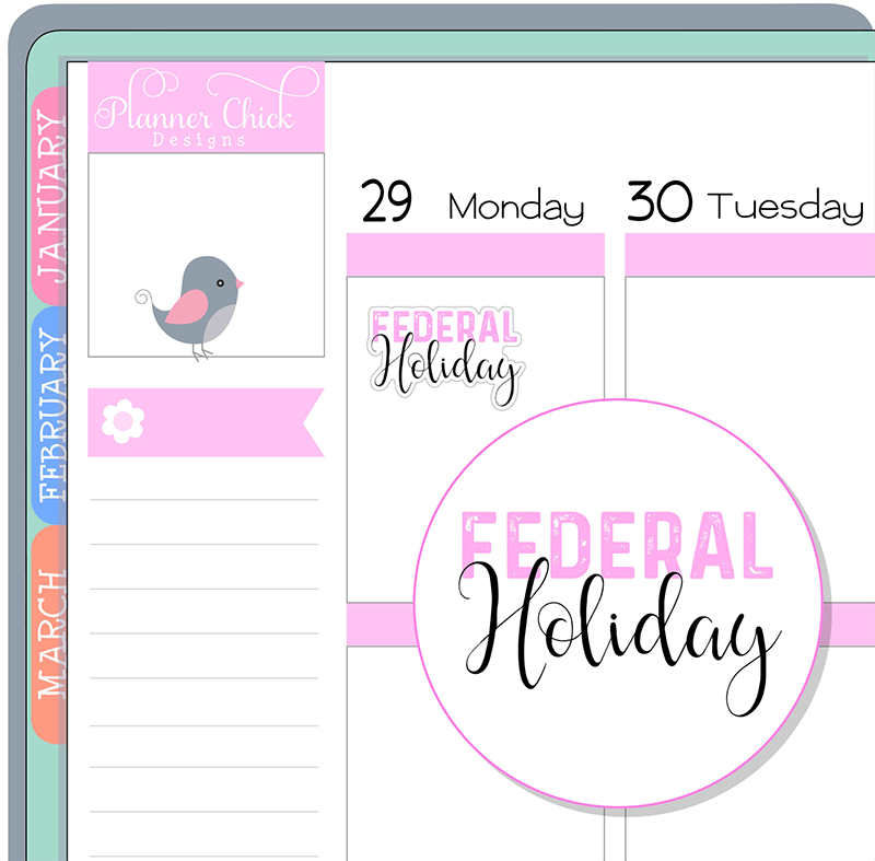 Federal Holiday Planner Stickers
