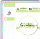 Days of the Week Colorful Planner Stickers