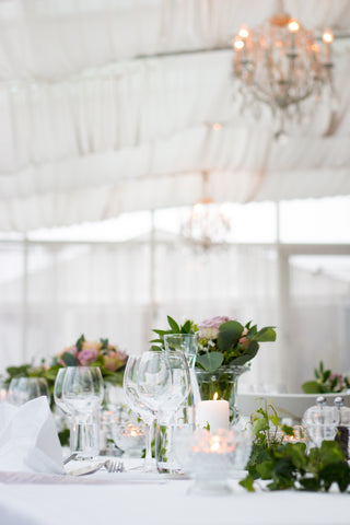 outdoor wedding event, white table scence