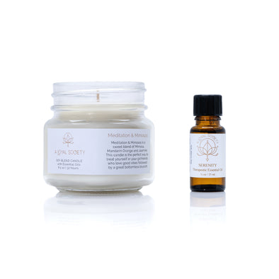 Self Care Gift Set: Relaxation Candle (choose any candle)  & Essential Oil (choose any oil)-  Please note your candle and oil selections in the Notes section when checking out.