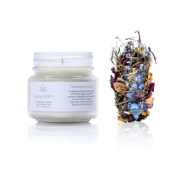 Self Care Kit: Relaxation Candle of Your Choice & Floral Sage Smudge Wand - Please specify your choice of candle in the Notes section of your order.