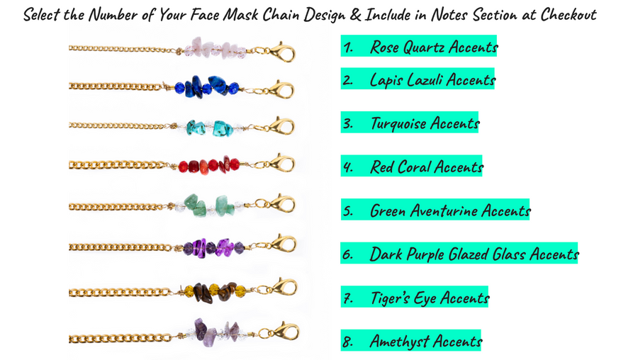 Gemstone Face Mask Chain (Choose from 8 Natural Stone Designs, Face Mask Is Not Included)