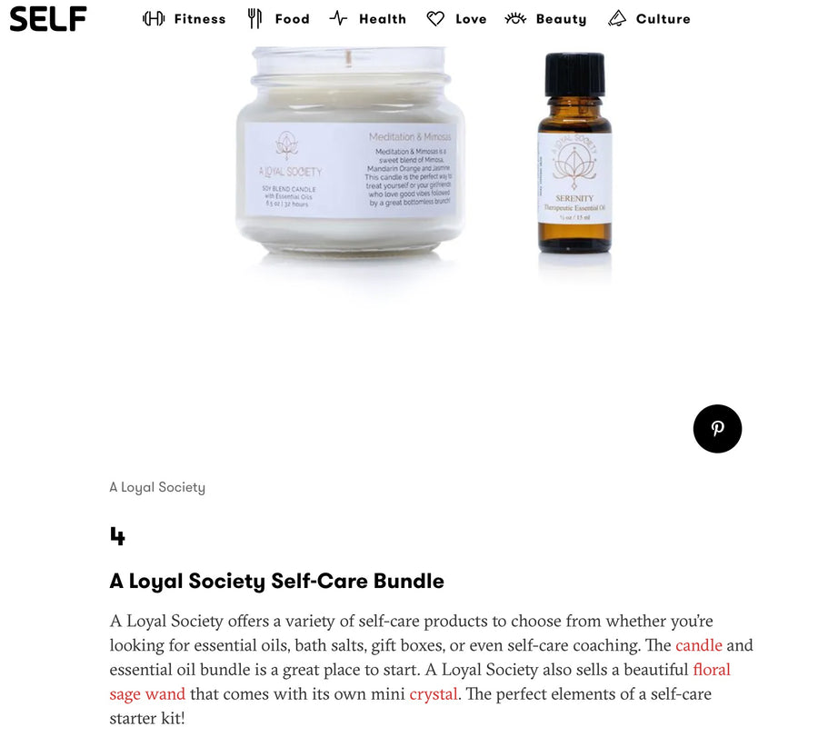 image of Self Magazine feature of A Loyal Society Self Care Bundle as number four in Self Magazine's List of Top 15 products by black owned brands from 2021