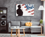 SOLDIER N FLAG - CANVAS ART