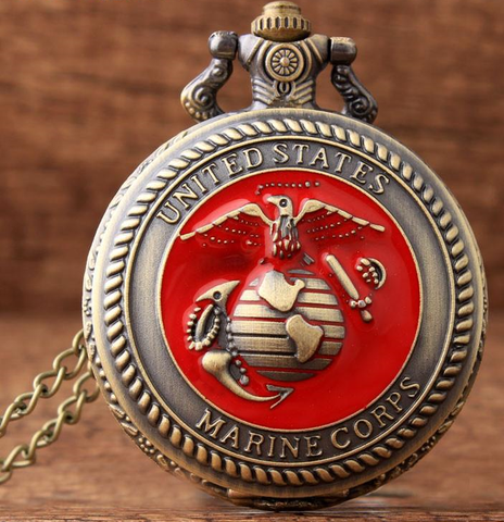 United States U.S. Marine Corps Bronze Quartz Pocket Watch