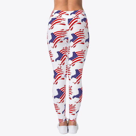 """PATRIOTIC EAGLE FLAG"" CUSTOMIZED TRENDY DESIGNER LEGGINGS"