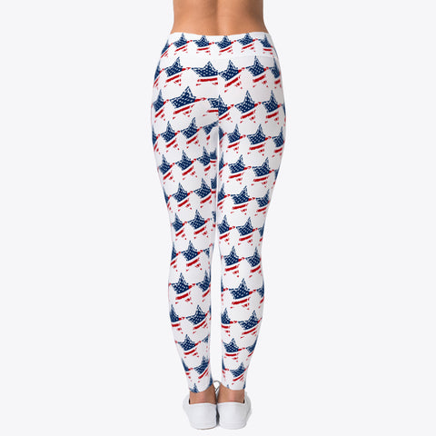 """RED *WHITE*BLUE* STAR FLAG"" CUSTOMIZED TRENDY DESIGNER LEGGINGS"
