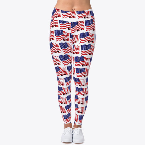 """USA WAVY FLAG"" CUSTOMIZED TRENDY DESIGNER LEGGINGS"