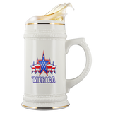 'MERICA 5 STAR PATRIOTIC FLAG STEIN