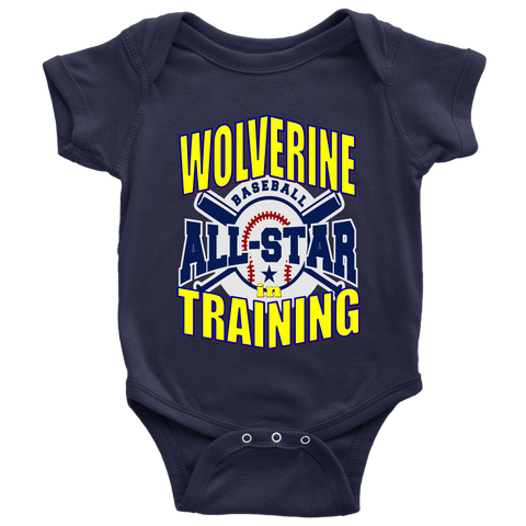 WOLVERINE in TRAINING BASEBALL Baby Bodysuit