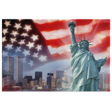 PATRIOTIC LADY LIBERTY  NY SKYLINE - CANVAS ART