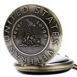 """Never Forget U.S. Veteran"" Bronze Quartz Pocket Watch"