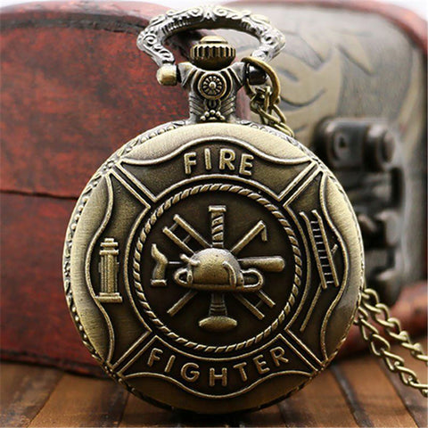 Antique Vintage Bronze Fire Fighter Pocket Watch