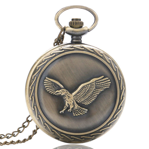 Vintage Bronze Copper Awesome Flying Eagle Quartz Pocket Watch