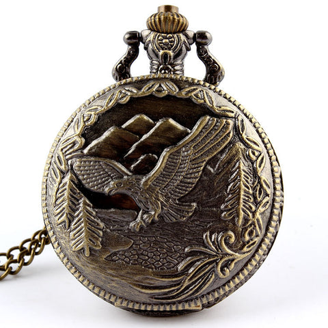 "Vintage "" Patriotic Eagle"" Bronze Pocket Watch"