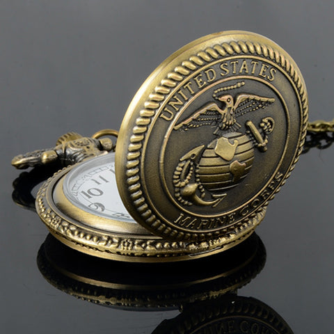 United States Eagles Marine Corps Bronze Quartz Pocket Watch