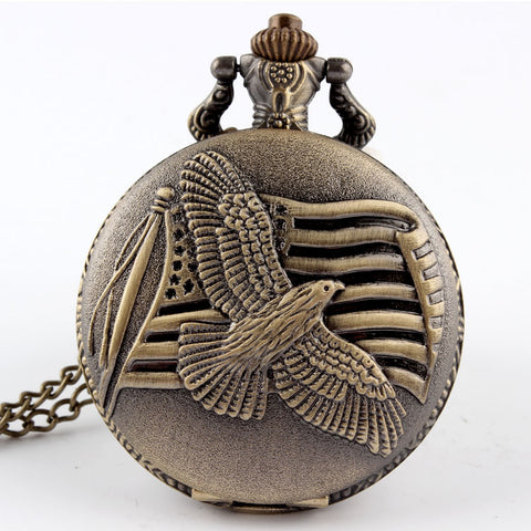 Vintage Bronze Eagle & Flag Quartz Pocket Watch Necklace Pendant