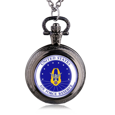 "United States ""AIR FORCE RESERVE"" Pocket Watch With Necklace Chain"