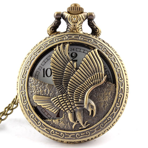 "Vintage Bronze ""Patriotic Eagle Wings"" Pocket Watch"