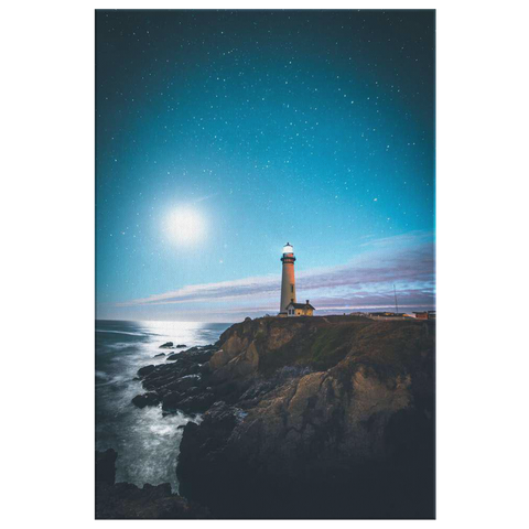 MIDNIGHT LIGHTHOUSE - CANVAS ART