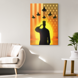 SOLDIER SALUTING at SUNSET - CANVAS ART
