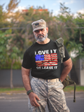 LOVE IT OR LEAVE IT PATRIOTIC DISTRESSED FLAG APPAREL