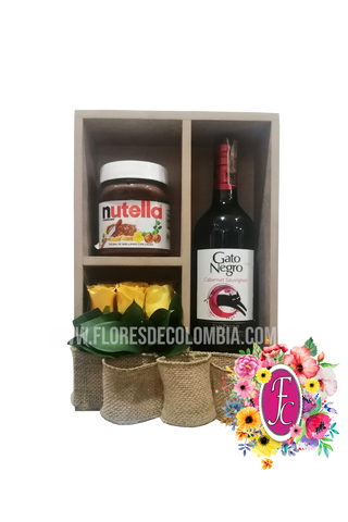 Box shelf con vino y nutella │ Flores de Colombia
