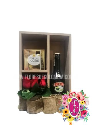 Box shelf con vino y chocolates │ Flores de Colombia