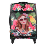"Nicole Lee Costa Rica - LG1420 Maleta de mano 4 spinner Cleo 20"" Vacation Girl in Paradise"