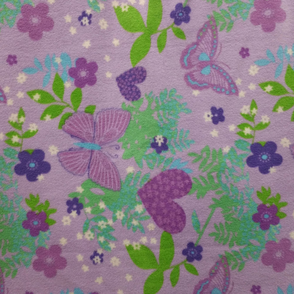 Lavender Butterflies and Hearts Fleece Fabric