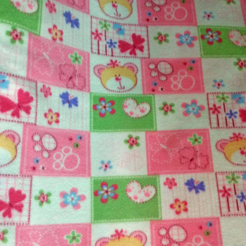 Baby Bear and Butterflies Patchwork Fleece Fabric