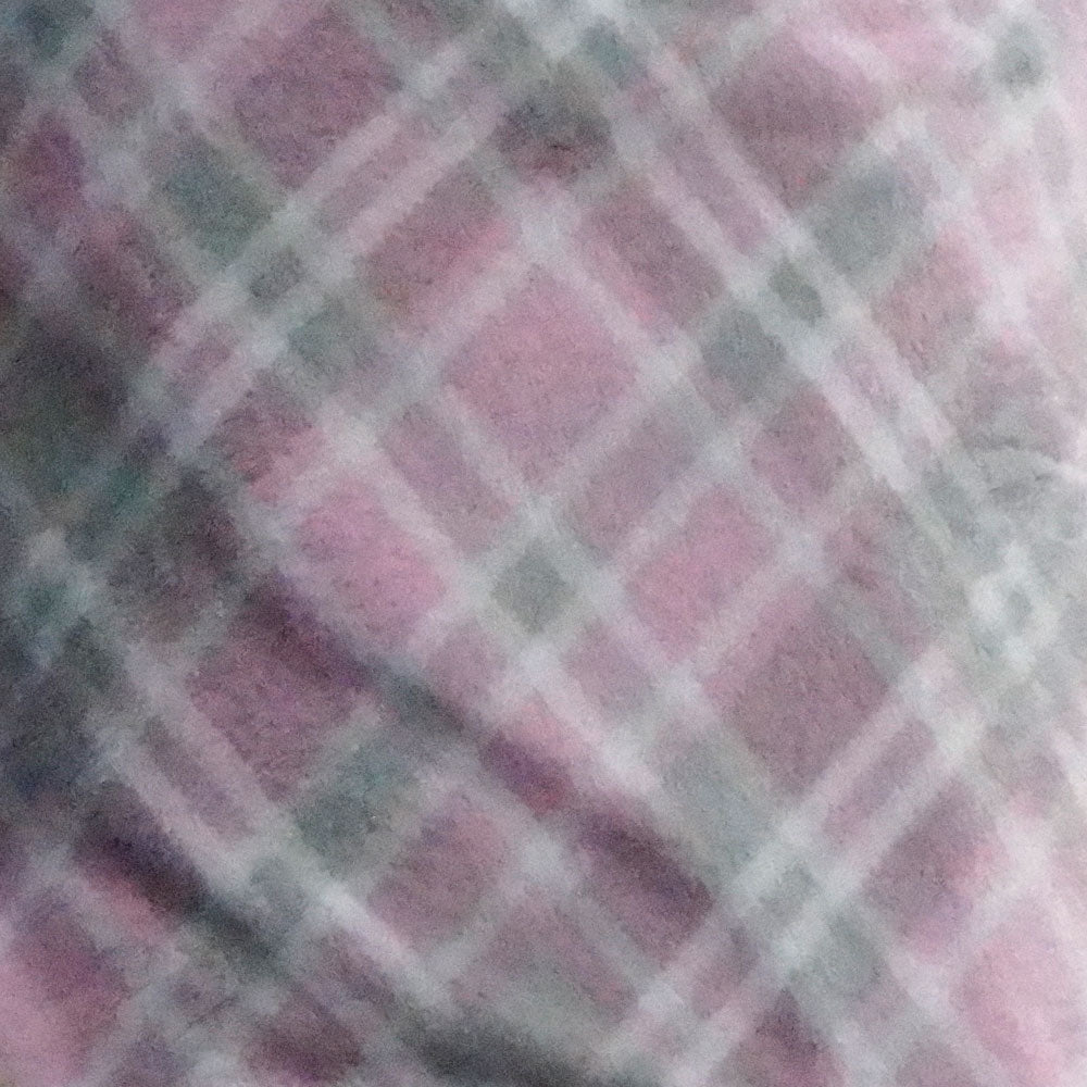 Pink and Gray Plaid Fleece Fabric
