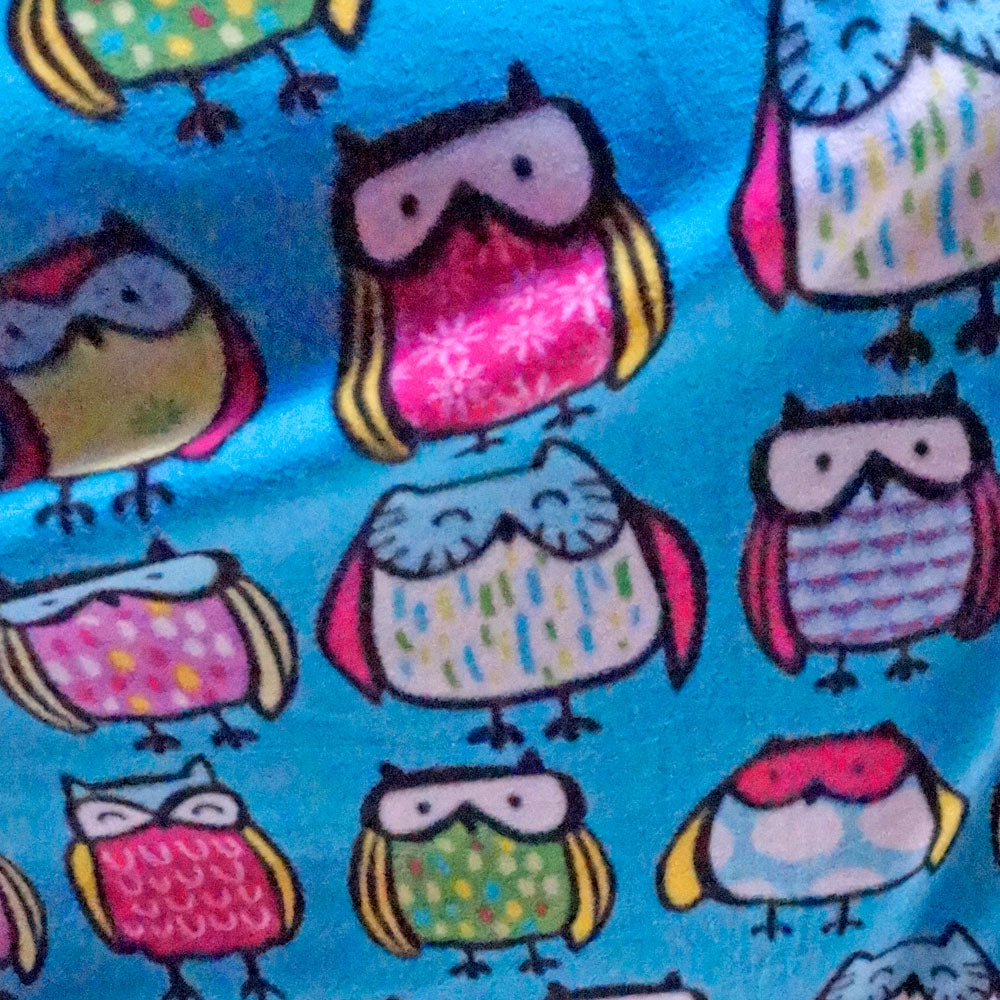 Colorful Wise Owls Fleece Fabric